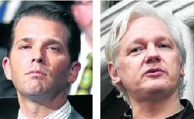 Donald Trump Jr. y Julian Assange./EFE