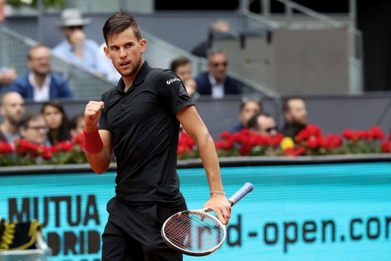 Dominic Thiem celebra su pase a la final del Mutua Madrid Open.