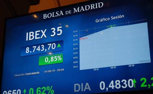 El Ibex 35 recupera los 8.700 puntos pese a la banca