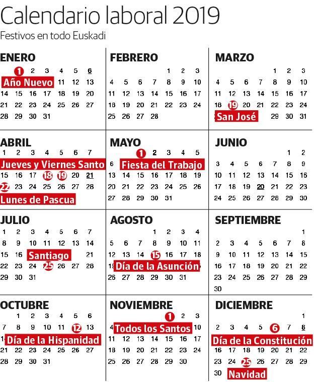 Calendario Laboral 2020 Bizkaia.Calendario Laboral 2019 Festivos Y Puentes En Euskadi El