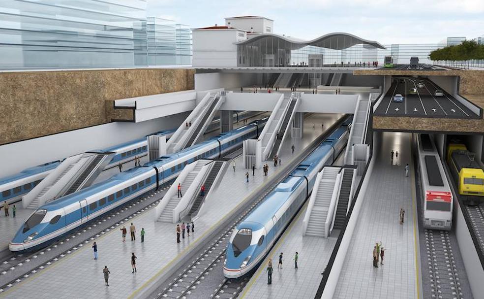 Recreación del aspecto que lucirá la nueva estación de tren de Vitoria./