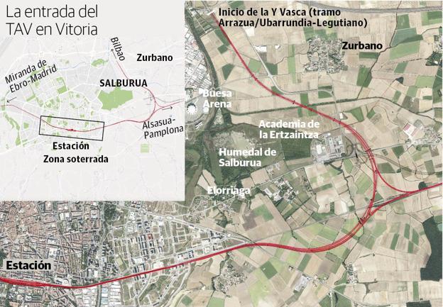Así entrará el Tren de Alta Velocidad (TAV) a Vitoria.