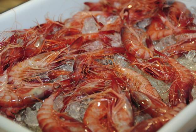 Gambas rojas en un local de Denia.