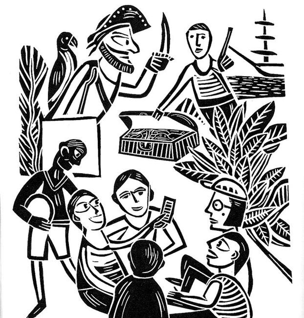 The linocuts illustrate stories such as that of the girl who makes movies live for those who cannot pay for cinema and that of the spiritist from O Grove.