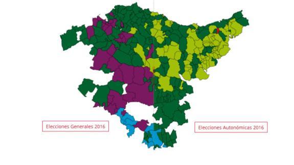 Elecciones Autonómicas vs. Generales 2016  comparativa de resultados  electorales por municipios de Euskadi 8db2bf1e6bb21